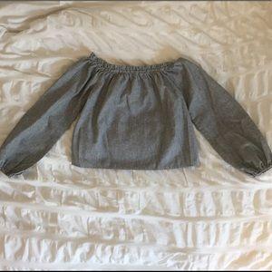 •Brandy Melville Striped Off the Shoulder Top•